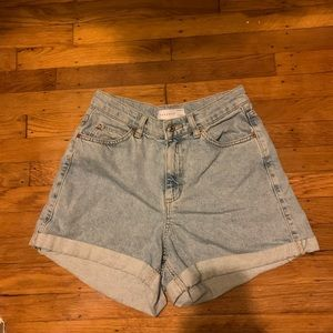 TOPSHOP high waisted denim shorts